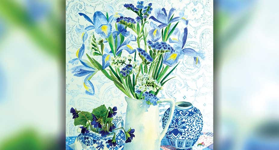 Blue-irises-and-willow-pattern